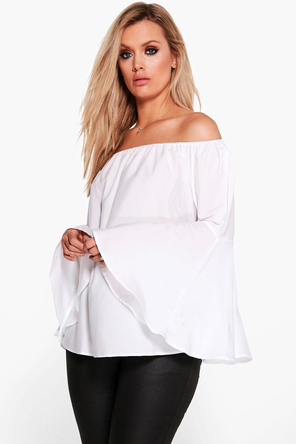 Plus Eve Wide Sleeve Off The Shoulder Top