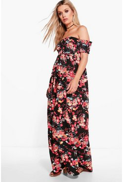 Plus Cara Off The Shoulder Floral Maxi Dress