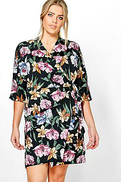 Plus Lily Floral Wrap Front Dress