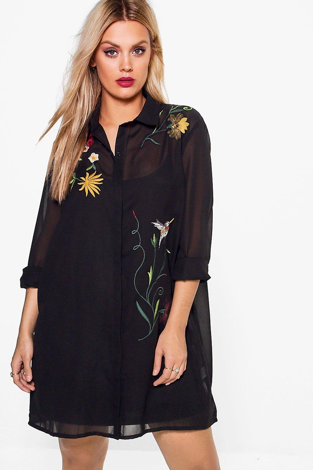 Plus Felicity Embroidered Shirt Dress