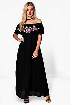 Plus Rosie Embroidered Frill Maxi Dress