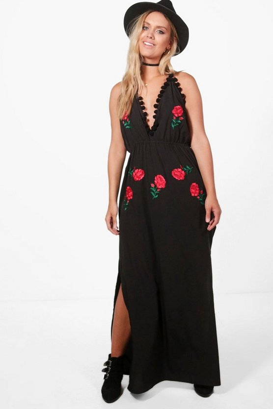 Plus Millie Embroidered Pom Pom Maxi Dress