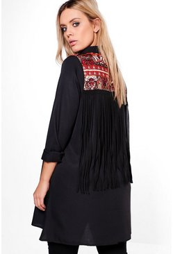Plus Frankie Printed Back Embroidered Shirt