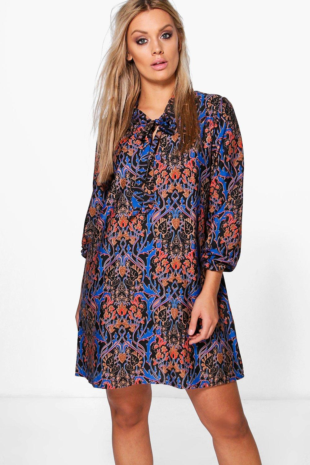 Plus Size Retro Dresses Plus Lucy Tie Front Printed Shirt Dress multi $25.00 AT vintagedancer.com