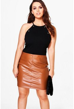 Plus Isabelle Faux Leather Mini Skirt