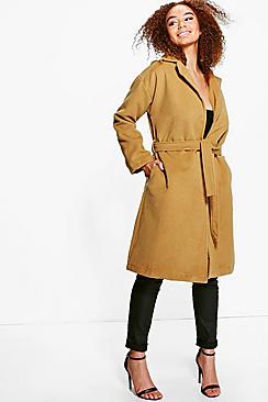 Plus Sasha Belted Wool Look Coat