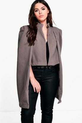Plus Natalie Wool Look Cape Coat
