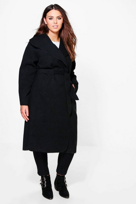 Plus Ashley Belted Wool Look Coat