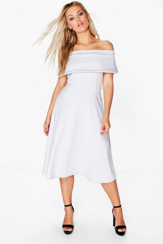 Plus Anna Off The Shoulder Midi Skater Dress