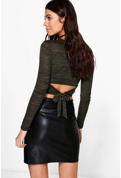 Petite Jade Tie Back Knitted Crop Top