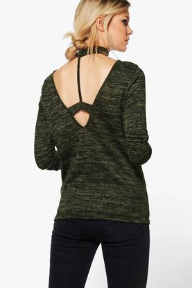 Petite Amelia Knitted Choker Strap Back Top