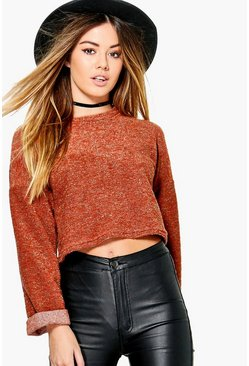 Petite Sara Knitted Boucle Sweat Top