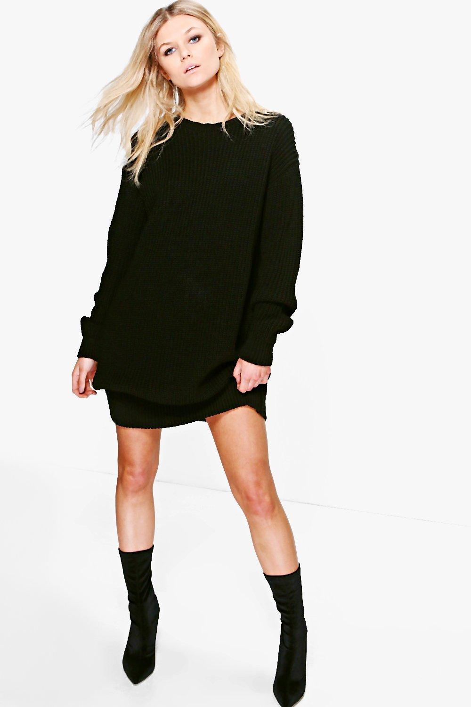 Emma Soft Knit Jumper Dress  black