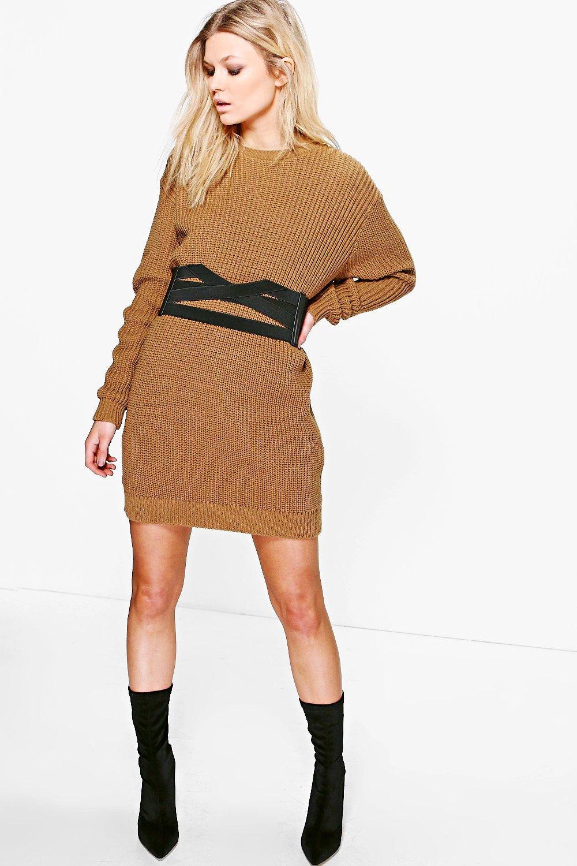 Emma Soft Knit Jumper Dress  camel