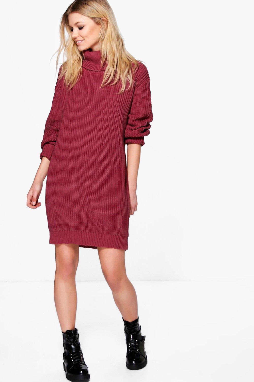 Tilly Rib Roll Neck Jumper Dress  berry