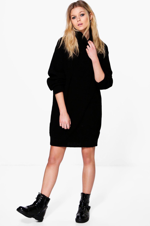 Tilly Rib Roll Neck Jumper Dress  black