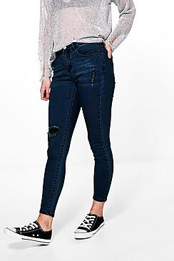 Petite Ashley Mid Rise Skinny Ripped Knee Jeans