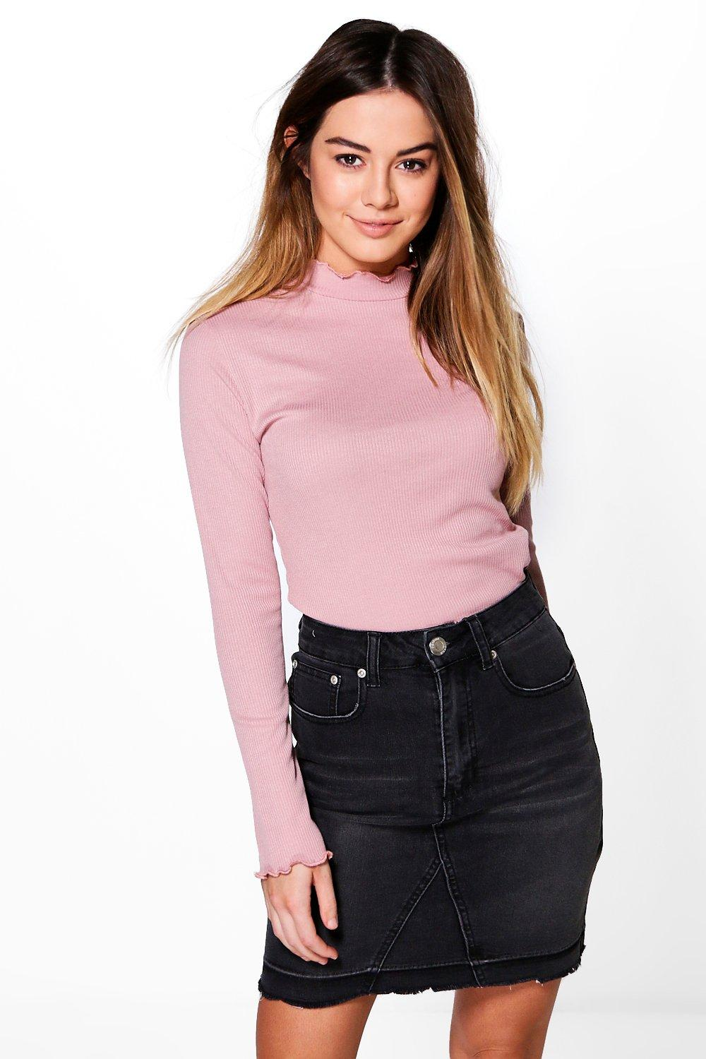 Petite Lottie Frill Edge Rib High Neck Top