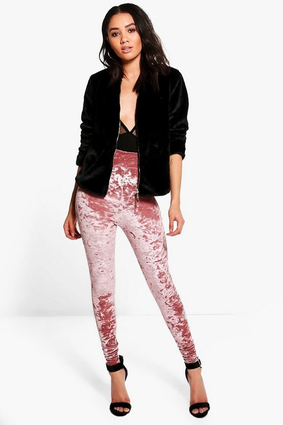 Petite Bella High Waisted Crushed Velvet Leggings