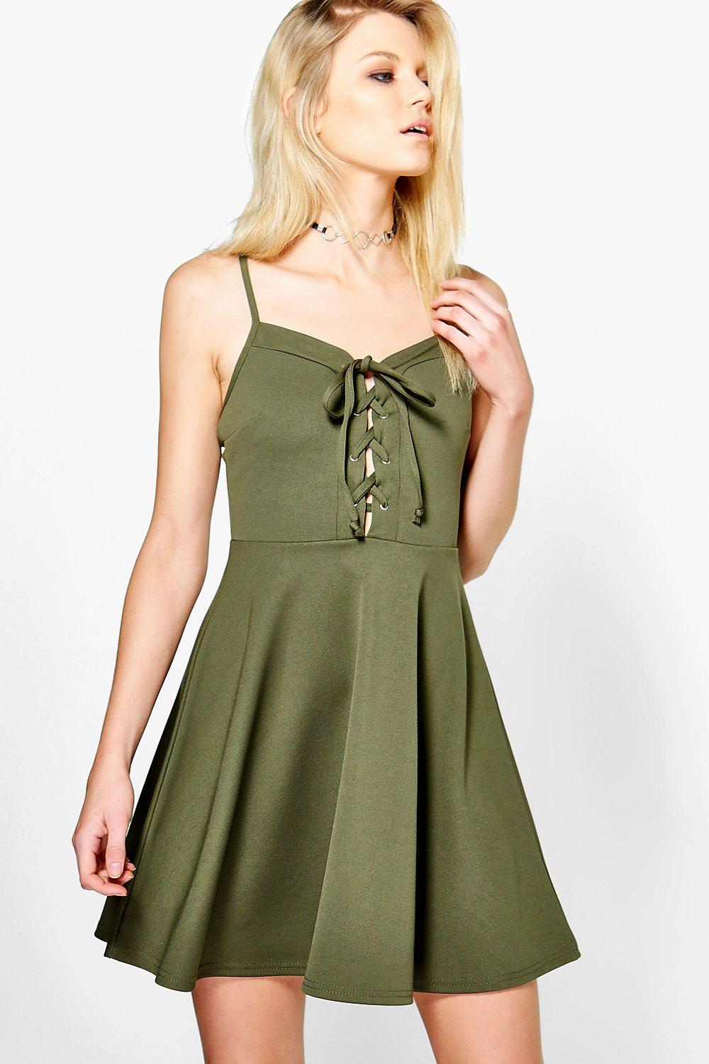 Petite Amelia Lace Up Detail Skater Dress