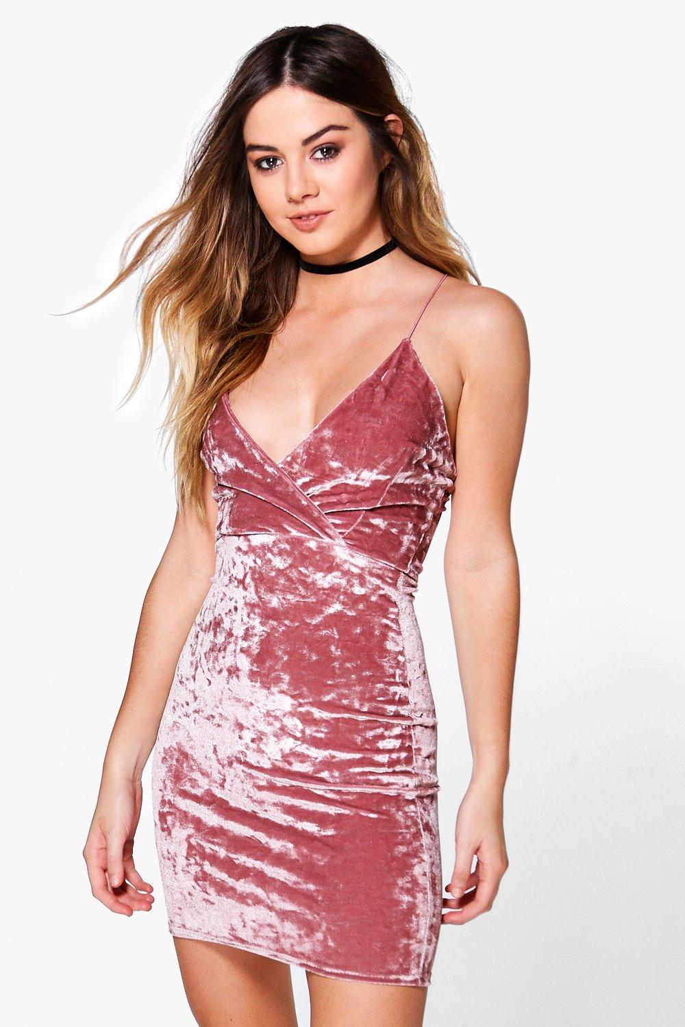 Petite Isobel Crushed Velvet Wrap Bodycon Dress at boohoo.com