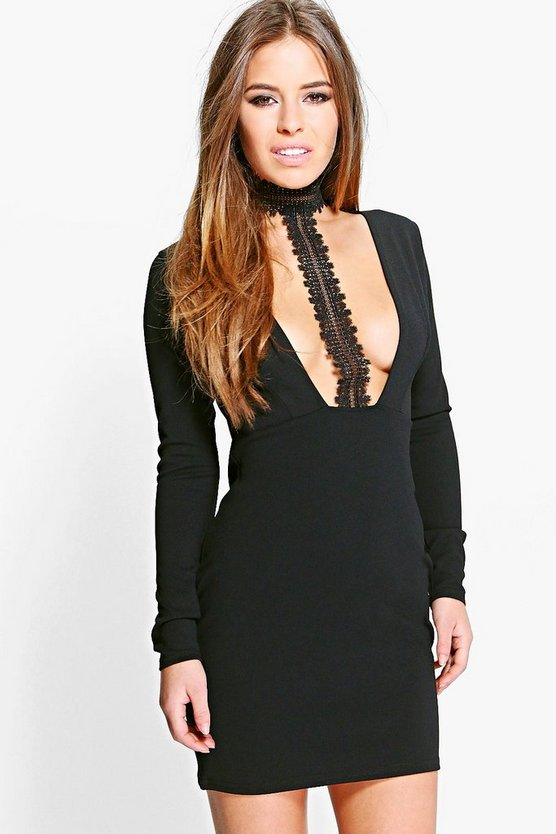 Petite Sofia Lace Choker Plunge Bodycon Dress