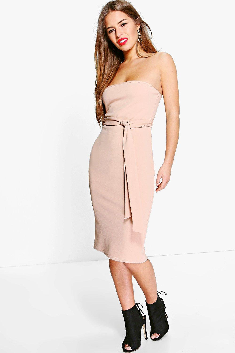 Petite Lexi Bandeau Tie Belted Midi Dress