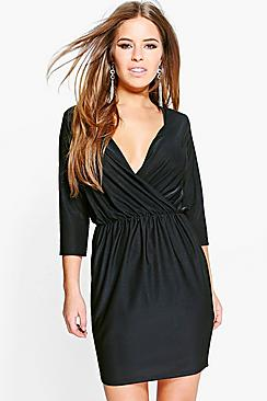 Petite Gracie Low Plunge Wrap Dress