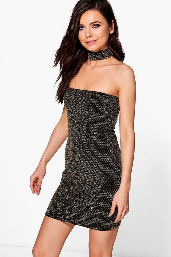 Petite Brooke Metallic Textured Choker Bandeau Dress