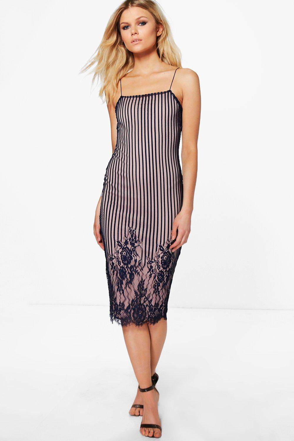 Petite Lola Contrast Stripe Floral Lace Midi Dress
