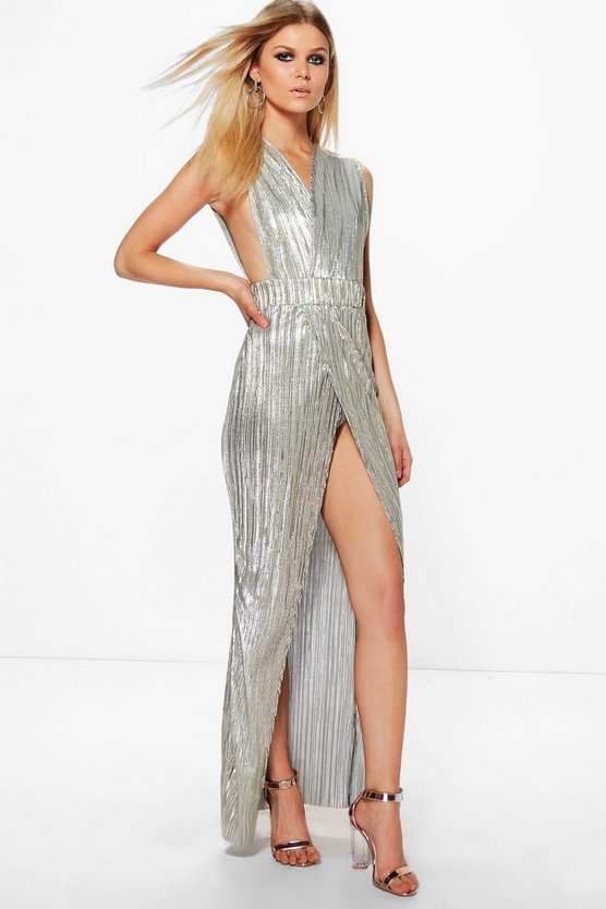 Petite Eva Metallic Pleat Wrap Maxi Dress
