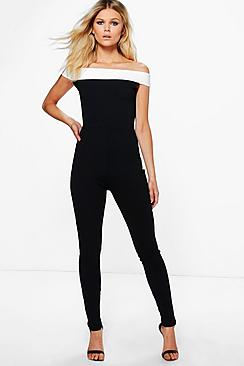 Petite Ava Off The Shoulder Contrast Panel Jumpsuit