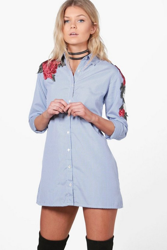Petite Kaitlin Applique Stripe Shirt Dress