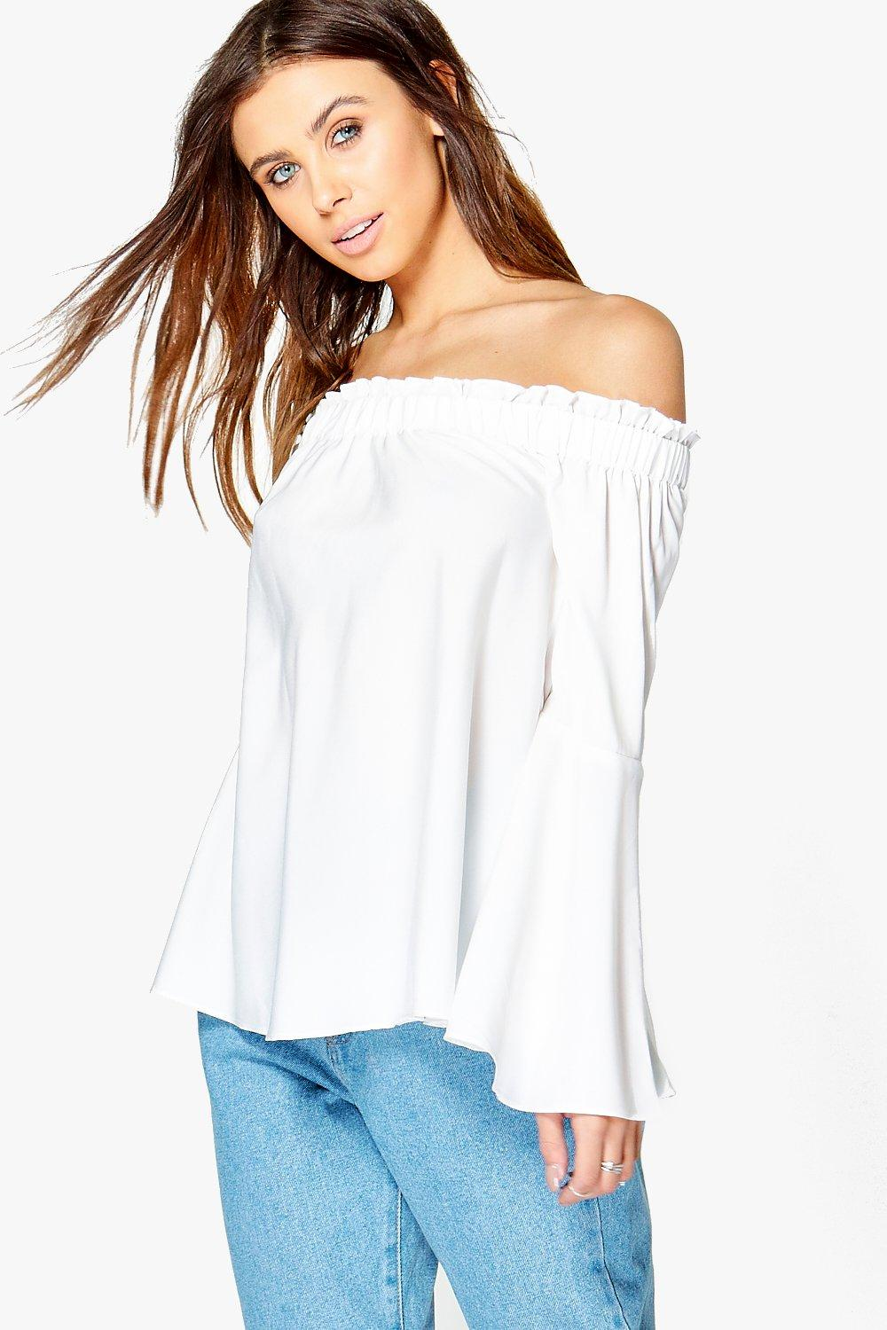 Petite Fifi Woven Frill Off The Shoulder Top