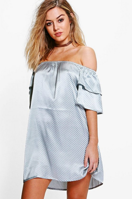 Petite Sasha Stripe Satin Ruffle Shift Dress