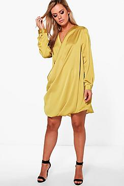 Plus Shuana Satin Wrap Dress