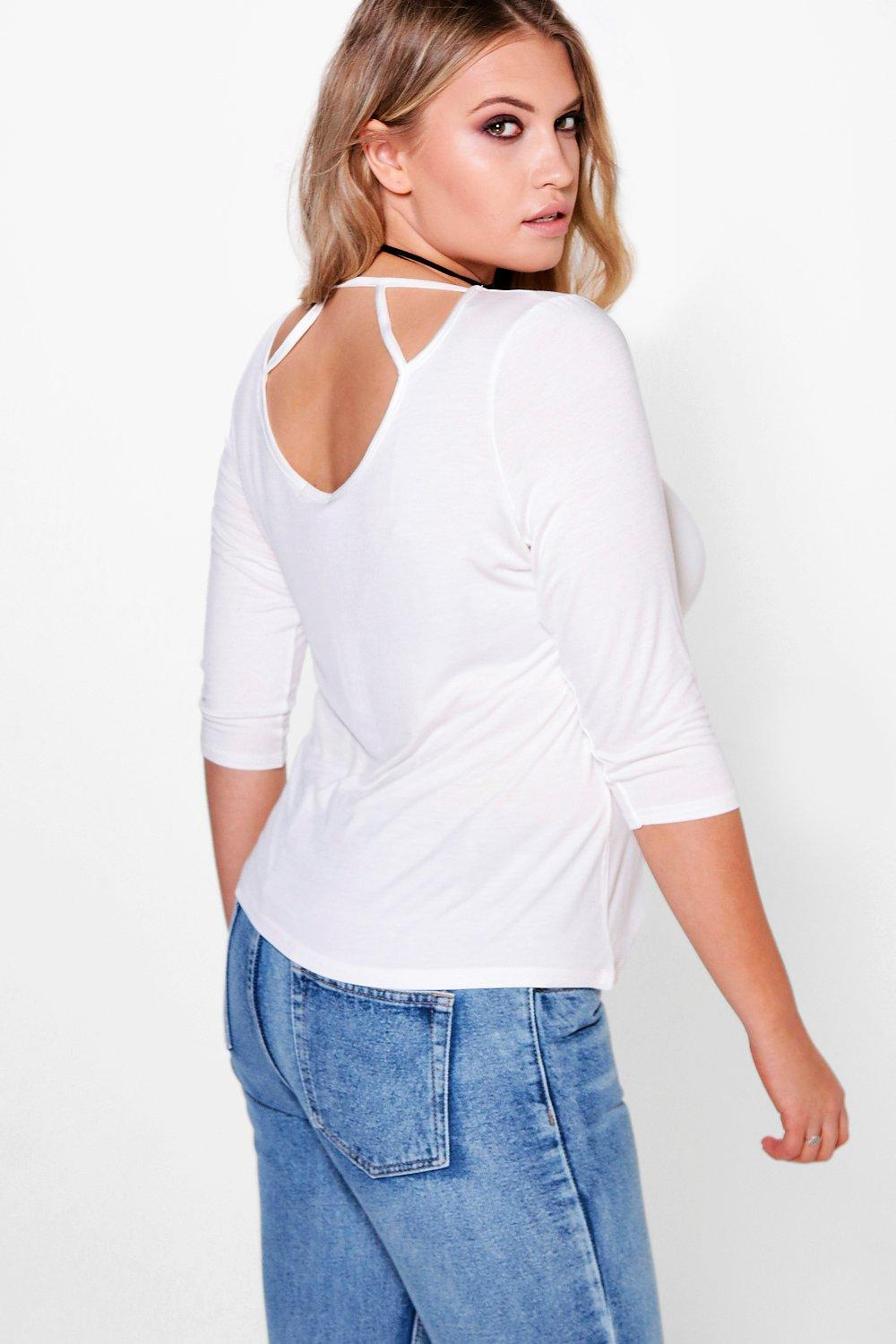 Plus Louisa Cage Back 3/4 Sleeve Top