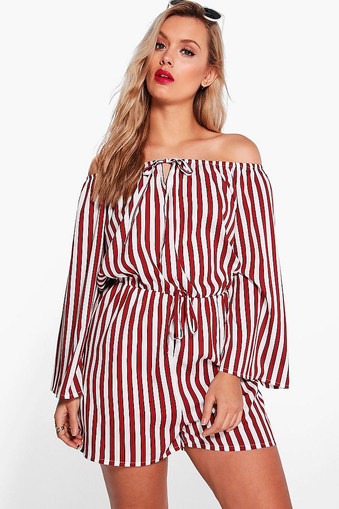 Plus Katie Striped Off The Shoulder Playsuit