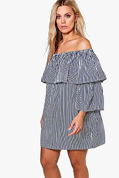 Plus Abigail Blue Stripe Off The Shoulder Dress