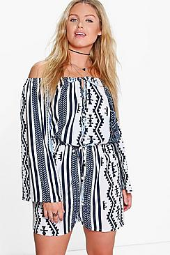 Plus Louise Printed Off The Shoulder Playsuit