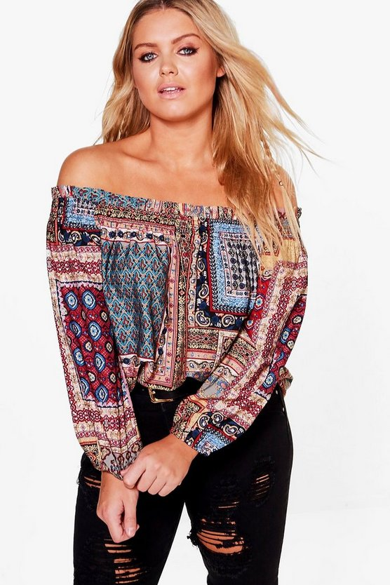 Plus Mia Off The Shoulder Paisley Top