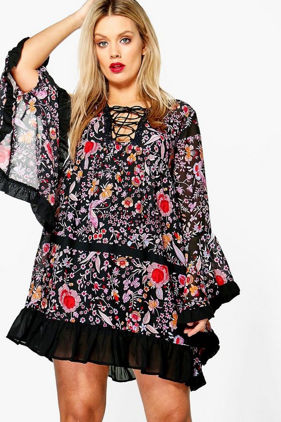 Plus Emily Lace Up Flute Sleeve Printed Dress