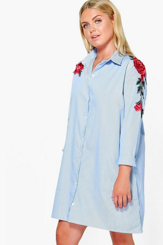 Plus Dora Embroidered Stripe Shirt Dress