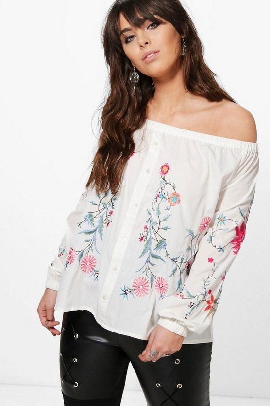 Plus Louise Embroidered Off The Shoulder Top