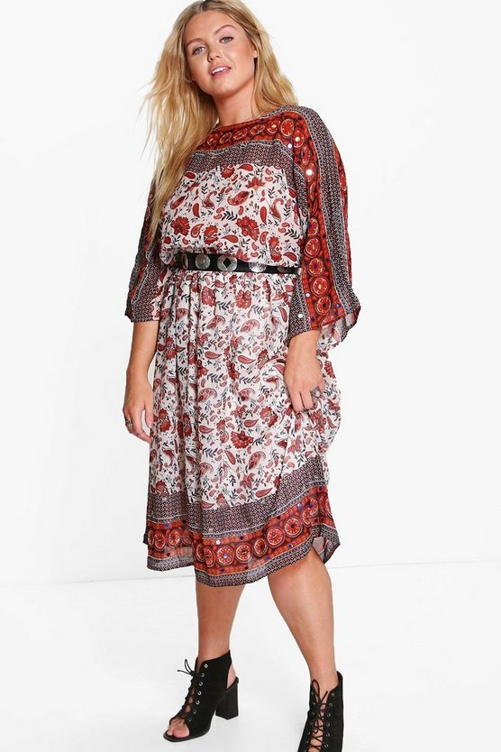 Plus Sara Sequinned Printed Midi Dress