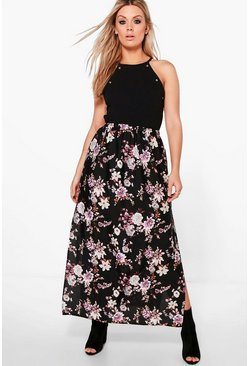 Plus Penny Floral Maxi Skirt