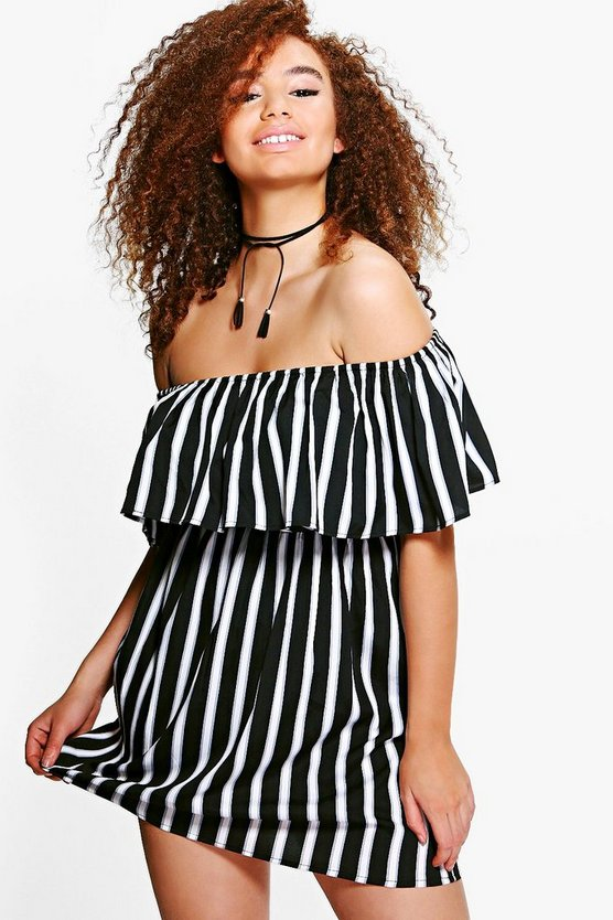 Plus Lisa Striped Bardot Frill Dress