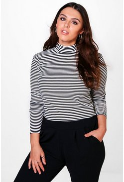 Plus Alex Stripe High Neck Rib Top