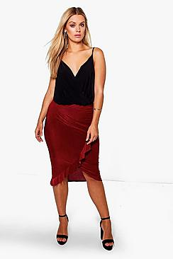 Plus Julia Ruffle Detail Wrap Skirt