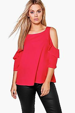 Plus Ella Ruffle Cold Shoulder Top